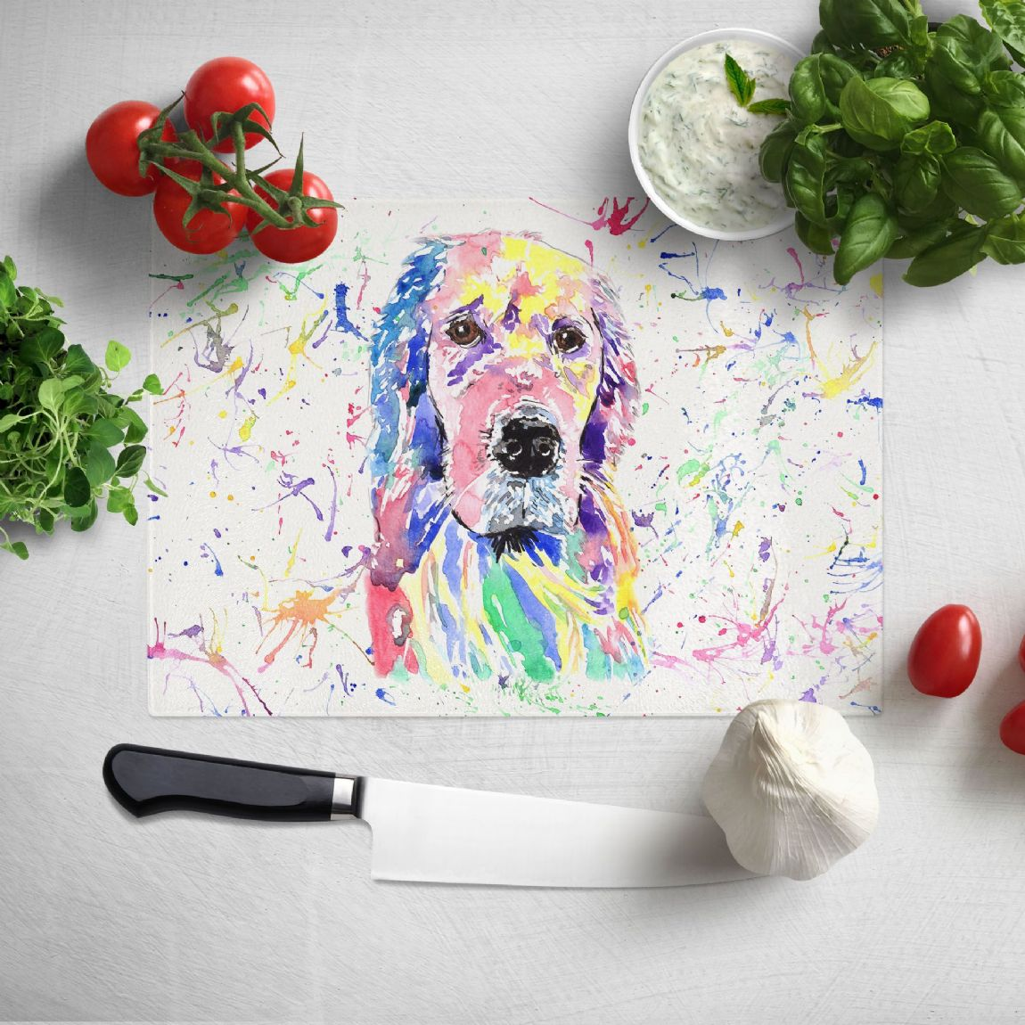 Glass worktop saver/chopping board (Golden retriever))